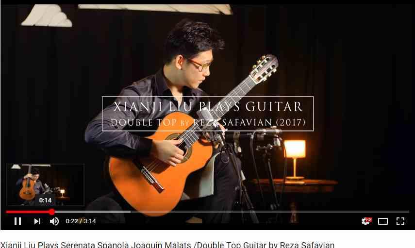 Xianji-liu joue une guitare classique de reza Safavian luthier à vendre