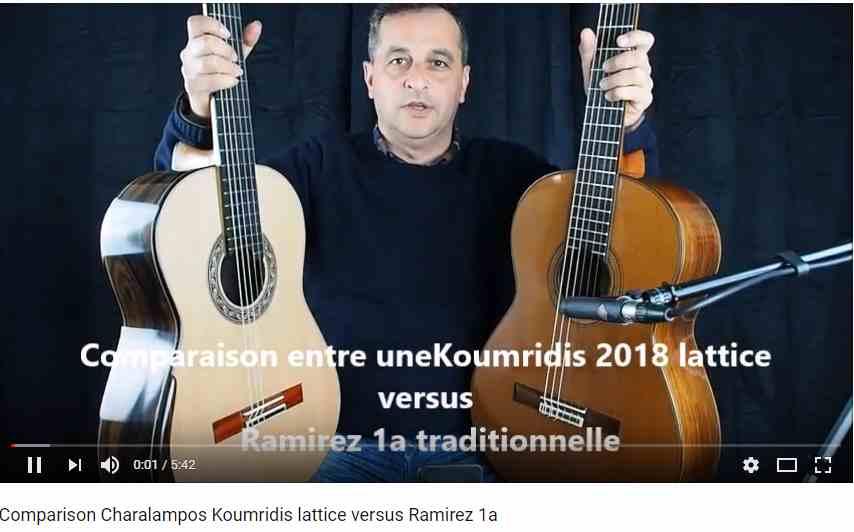 Vidéo comparative en une guitare classique lattice du luthier grec Charalampos Koumridis et une guitare traditionnelle du luthier José Ramirez 1a